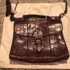Leather Fossil crocodile embossed handbag